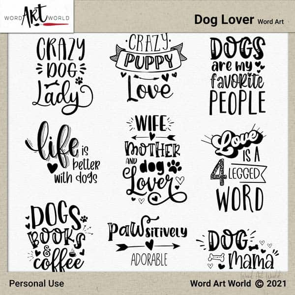 Dog Lover Word Art