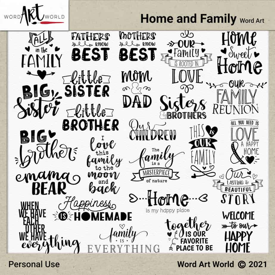 Home and Family Word Art