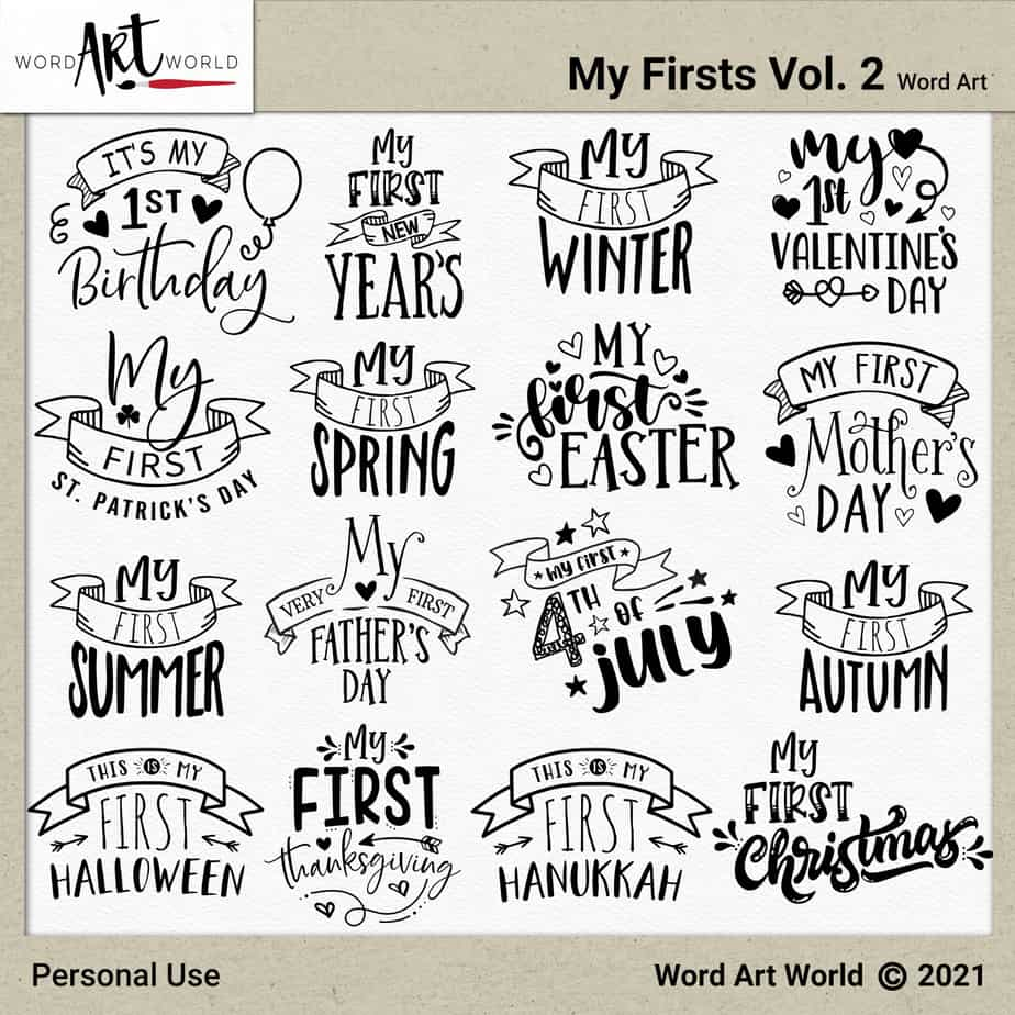 My Firsts Vol. 2 Word Art
