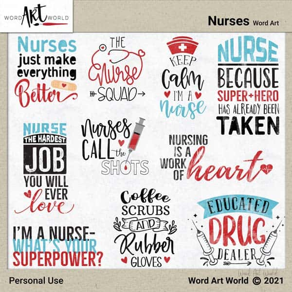 Nurses Word Art