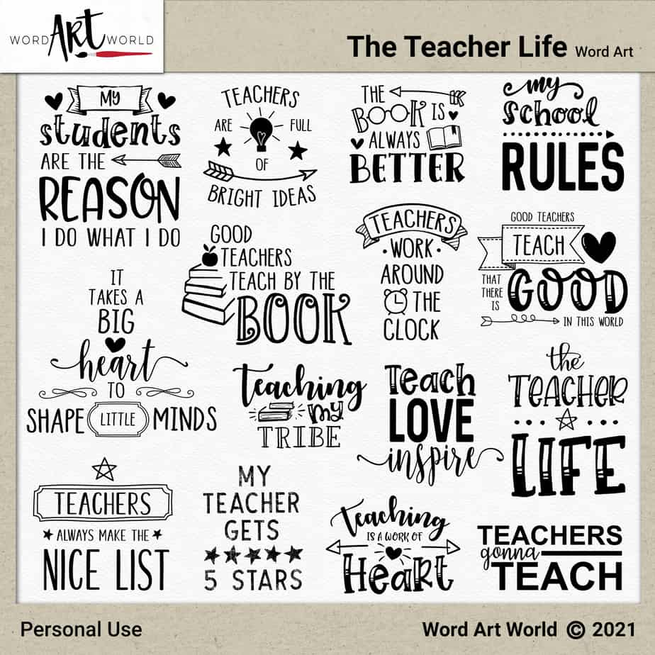 The Teacher Life Word Art