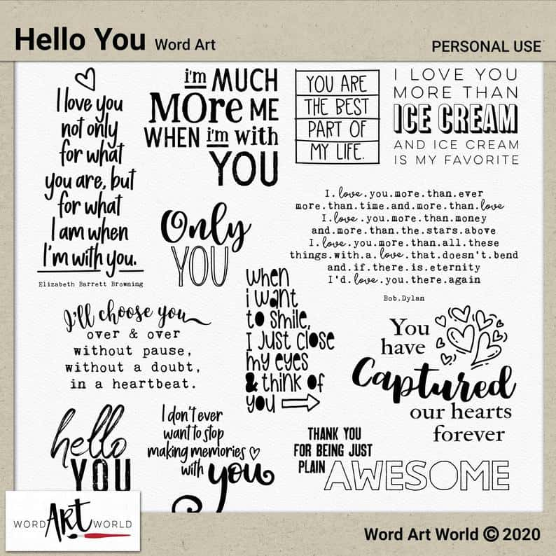 Hello You Word Art on Etsy