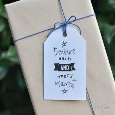 treasure each moment gift tag
