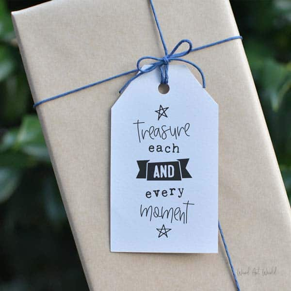 treasure each moment gift tag