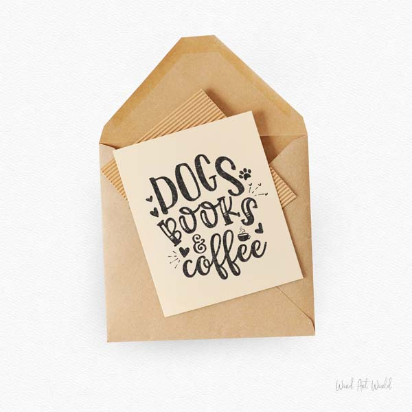 dogs books coffee card