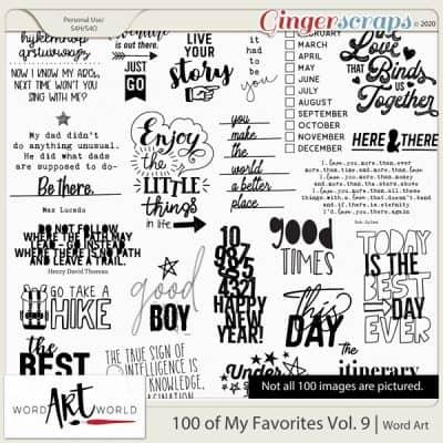 100 of My Favorites Vol. 9 Word Art