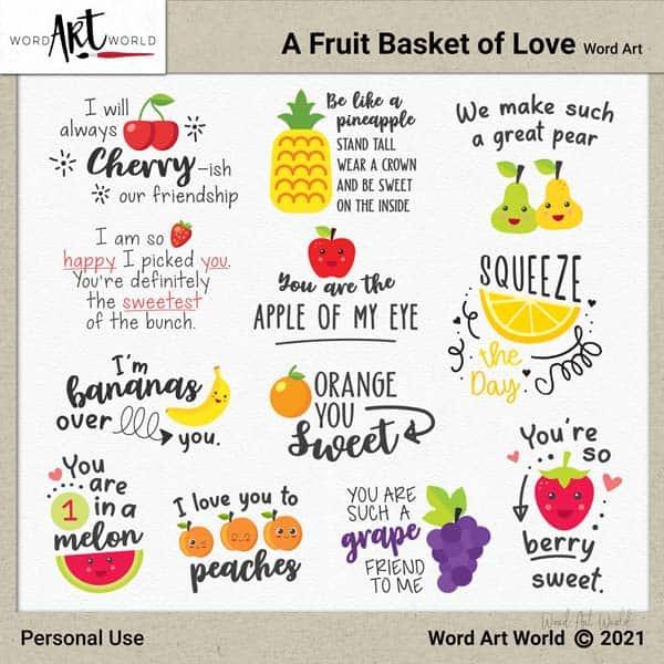 A Fruit Basket of Love Word Art