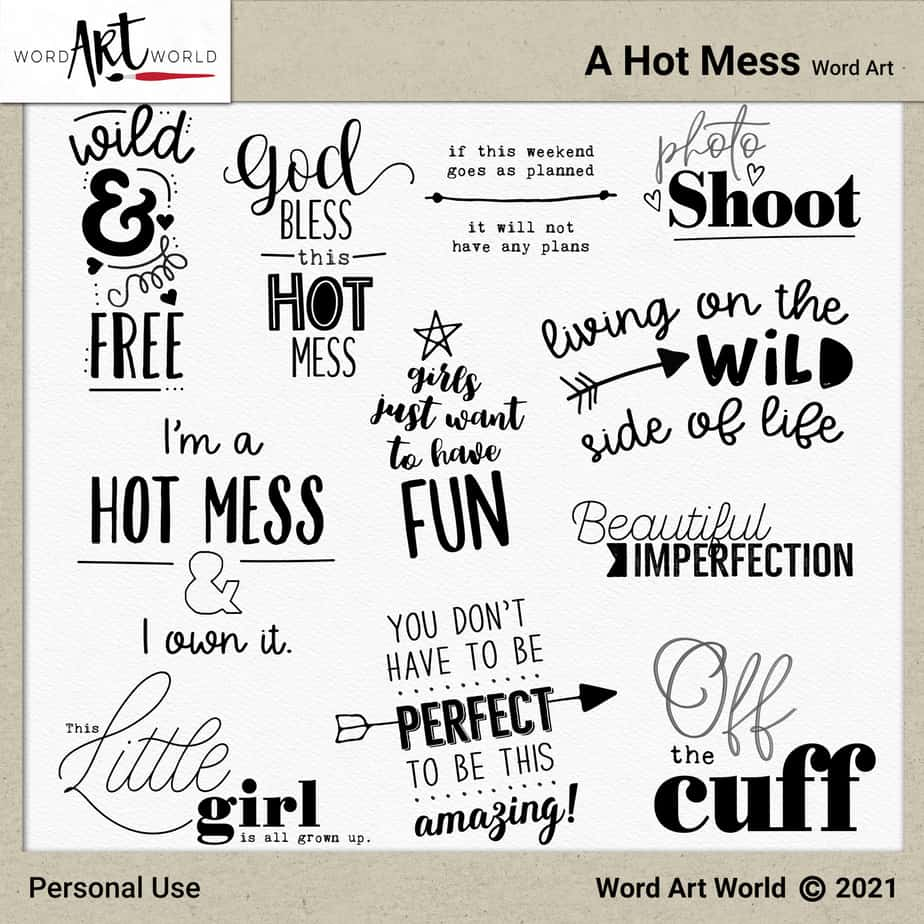 A Hot Mess Word Art Set