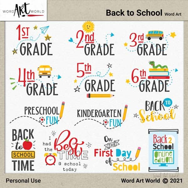 Back to School Word Art