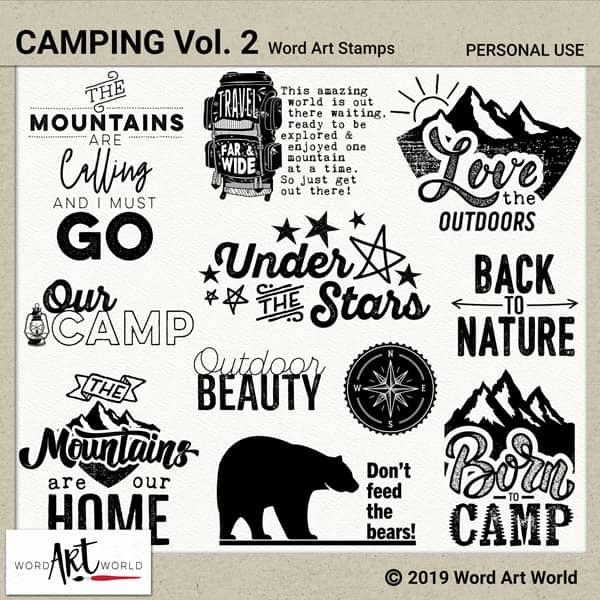 Camping Vol. 2 Word Art Pack