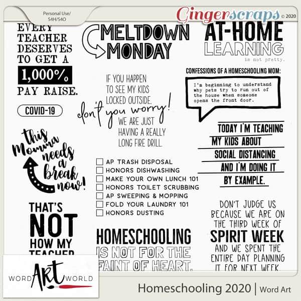 Homeschooling 2020 Word Art Pack