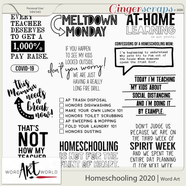 Homeschooling 2020 Word Art