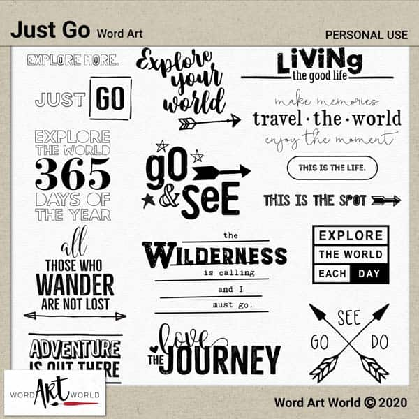 Just Go Word Art pack