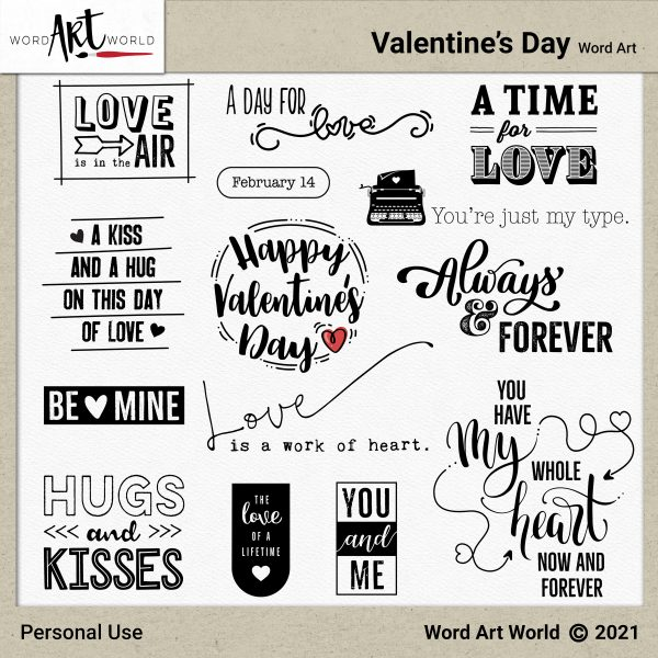 Valentine's Day Word Art Pack