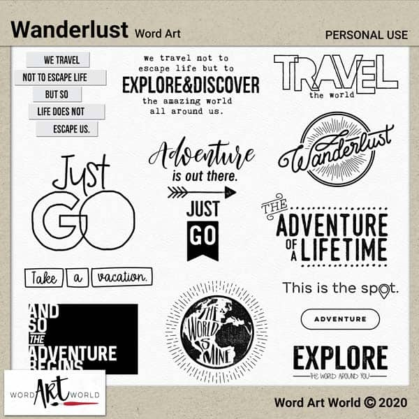 Wanderlust Word Art